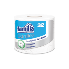Papel higiénico convencional extrafino blanco hoja doble 32 MTS. REF.70870 Familia