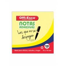 Notas adhesivas removibles 76X76 mm amarillas 100 hojas Offi-Esco