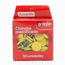 Chinche Triton x 50 amarillo plástico
