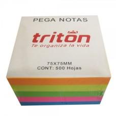 Adhesivo Taco Notas De Colores Tritón X 75 X 75 Mm X 500 Hojas