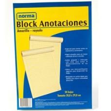 Block amarillo carta con rayas 50 Hojas Norma