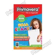 Hoja Examen C/C Con Rotulo PRIMAVERA